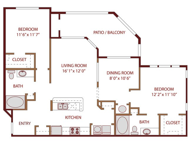 1,156 sq. ft. ENERGIZE floor plan
