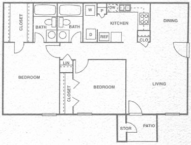 960 sq. ft. E floor plan