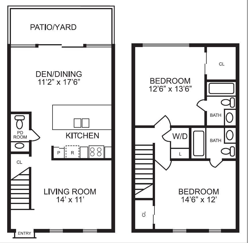 1,210 sq. ft. B4 floor plan