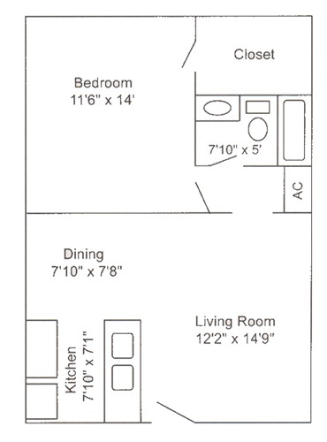 580 sq. ft. A1 floor plan
