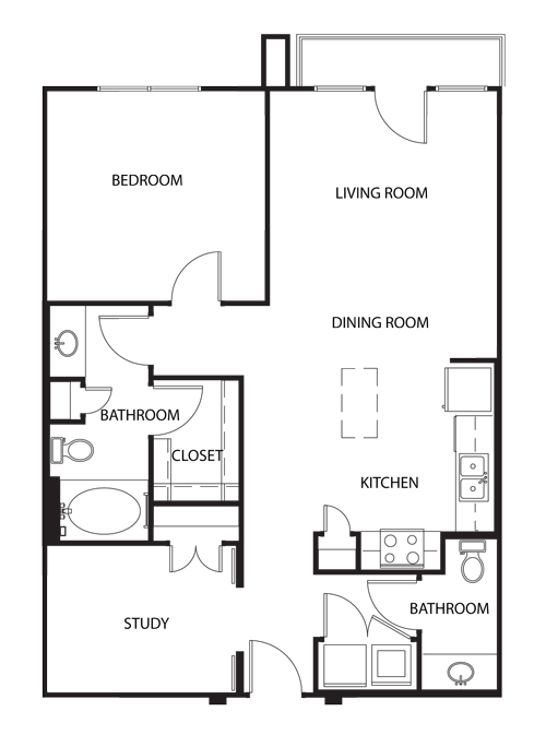 934 sq. ft. A2 floor plan