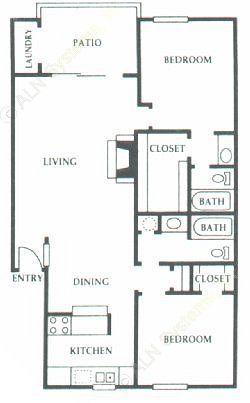 985 sq. ft. F1 floor plan