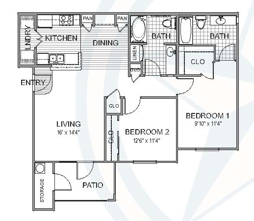 993 sq. ft. Oak floor plan