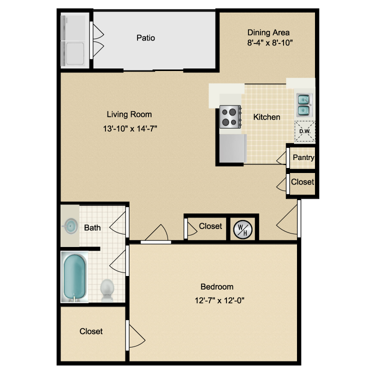 755 sq. ft. B floor plan