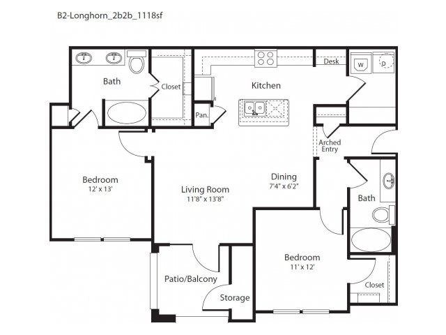 1,118 sq. ft. Longhorn floor plan