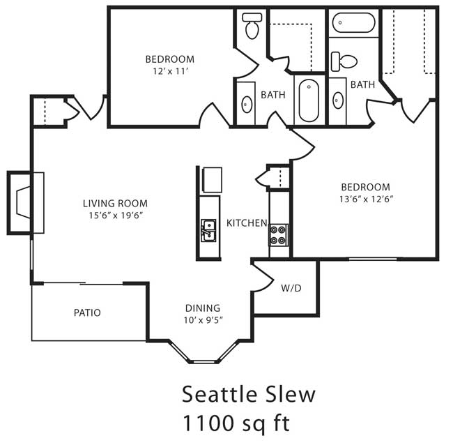 1,100 sq. ft. G floor plan