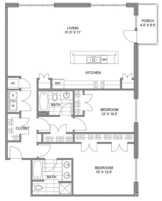 1,435 sq. ft. D floor plan