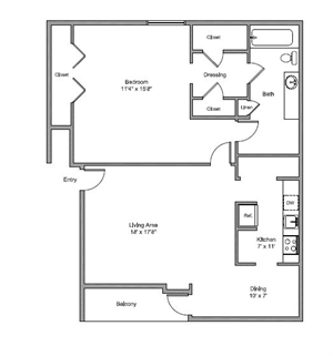 934 sq. ft. Benbrook floor plan