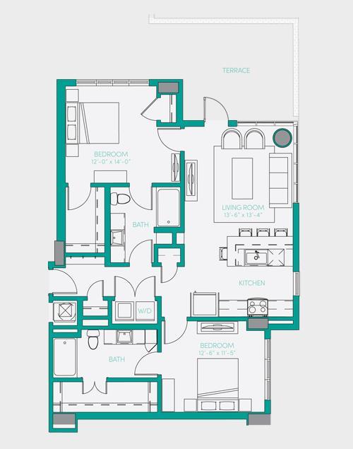 1,104 sq. ft. B1.3 floor plan
