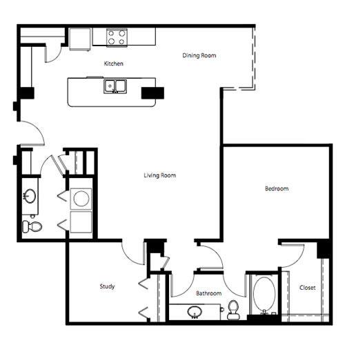1,213 sq. ft. A3E floor plan