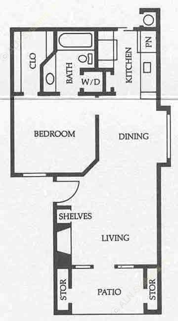 588 sq. ft. A2 50% floor plan