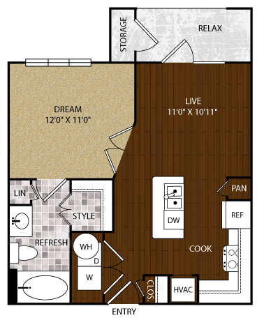 570 sq. ft. A1-Yard floor plan