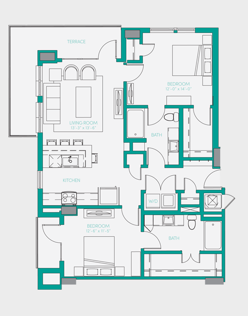 1,107 sq. ft. B2.1 floor plan