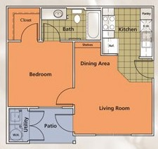 499 sq. ft. A1 floor plan