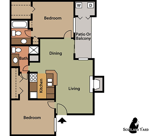 924 sq. ft. B4 floor plan