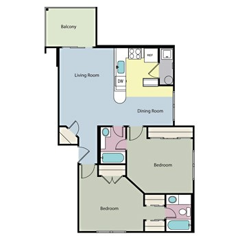 907 sq. ft. LEGISLATOR floor plan