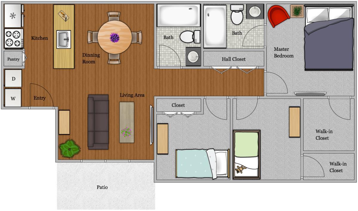 1,120 sq. ft. C floor plan