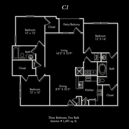 1,491 sq. ft. C floor plan