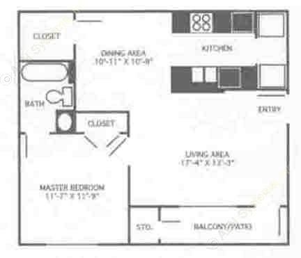 690 sq. ft. 1A/60% floor plan