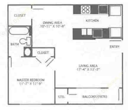 690 sq. ft. 1A/60% floor plan