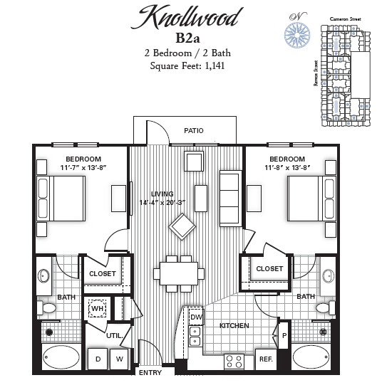 1,141 sq. ft. KNOLLWOOD floor plan