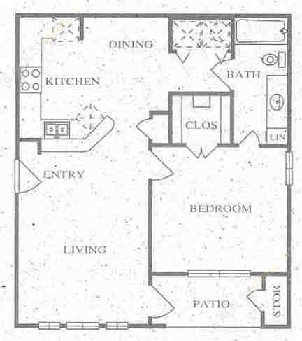 728 sq. ft. A floor plan