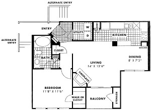 718 sq. ft. to 768 sq. ft. COMMERCE floor plan