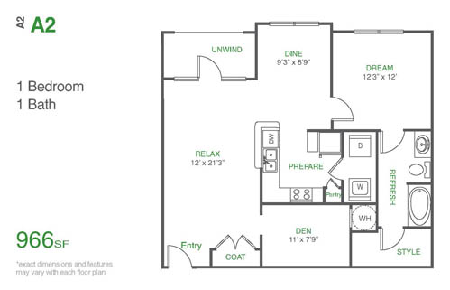 966 sq. ft. A2 floor plan