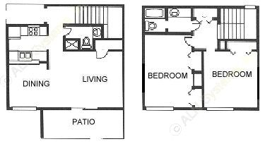 1,175 sq. ft. B1 floor plan