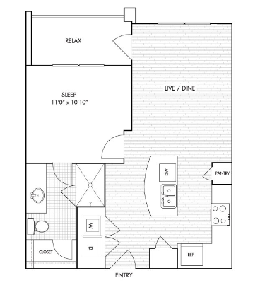 646 sq. ft. to 675 sq. ft. A1 floor plan