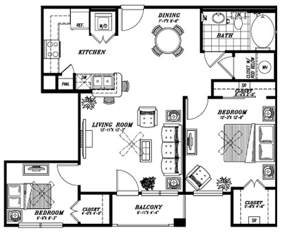 885 sq. ft. A6B floor plan