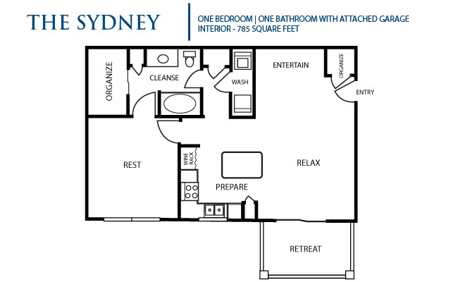 785 sq. ft. Sydney floor plan