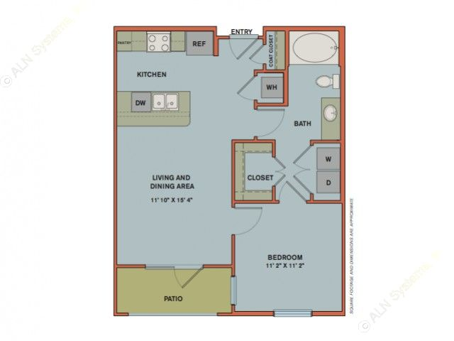 654 sq. ft. A2.1 floor plan