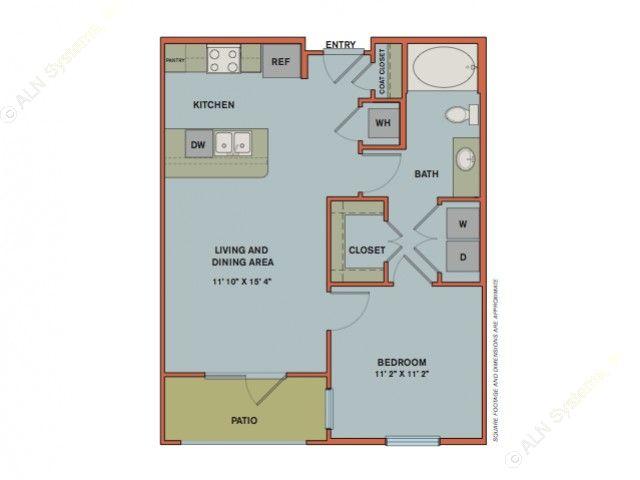654 sq. ft. A2.1 floor plan
