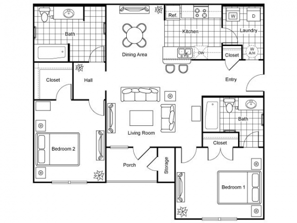 1,072 sq. ft. Affirmed/60% floor plan