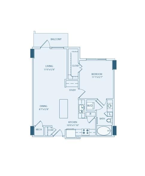 747 sq. ft. A4 floor plan