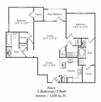 1,320 sq. ft. B2 floor plan