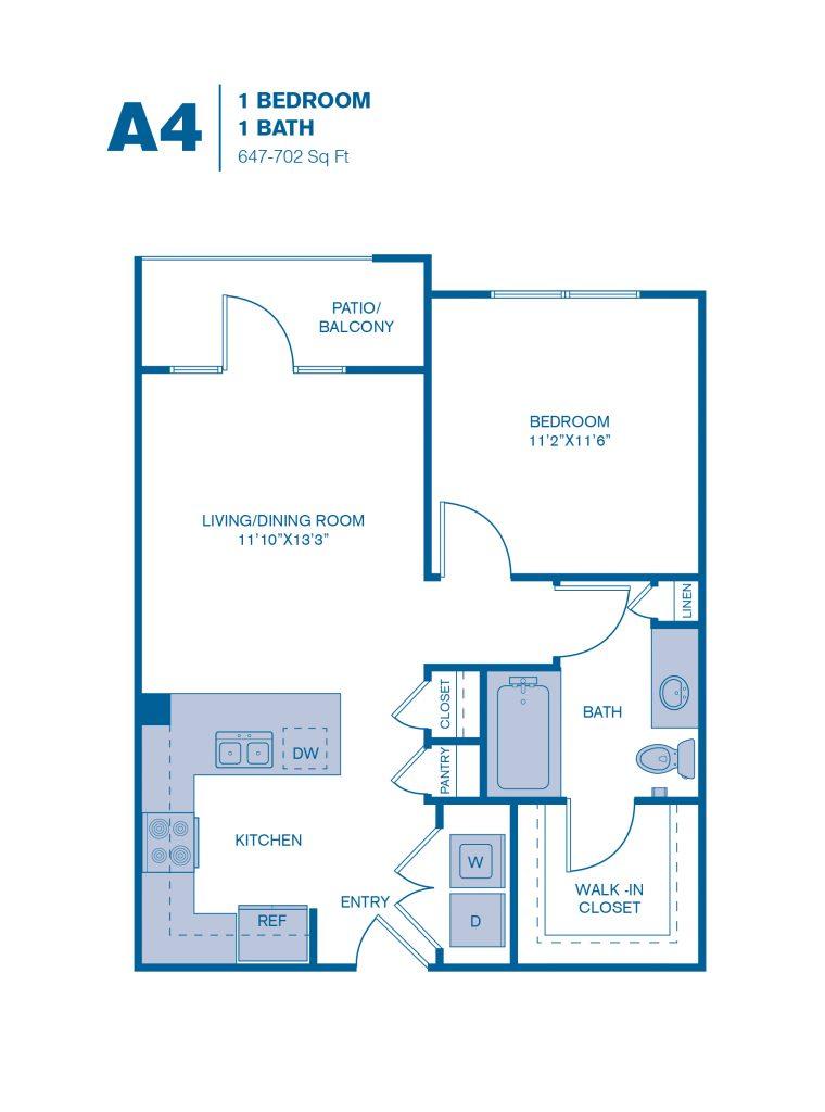 647 sq. ft. A4 floor plan