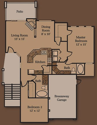 1,213 sq. ft. B3 floor plan
