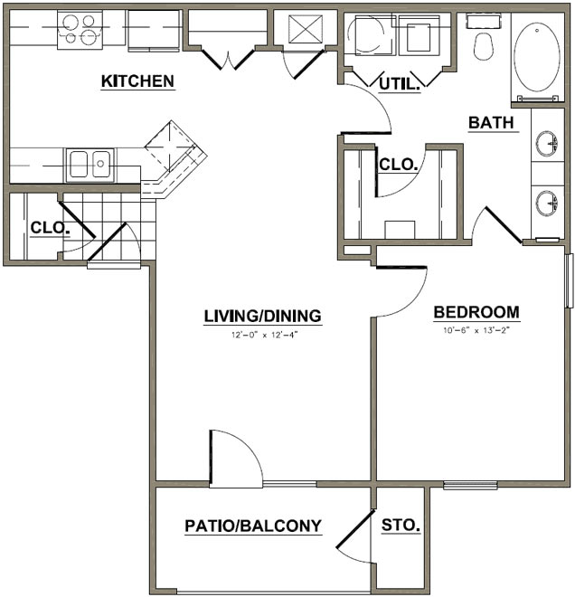 754 sq. ft. Heritage Oak floor plan