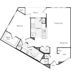 1,005 sq. ft. A4 floor plan