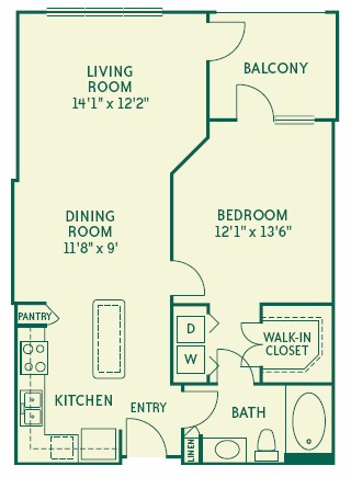 773 sq. ft. A2 floor plan