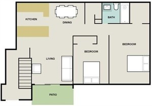 1,024 sq. ft. Monaco I floor plan