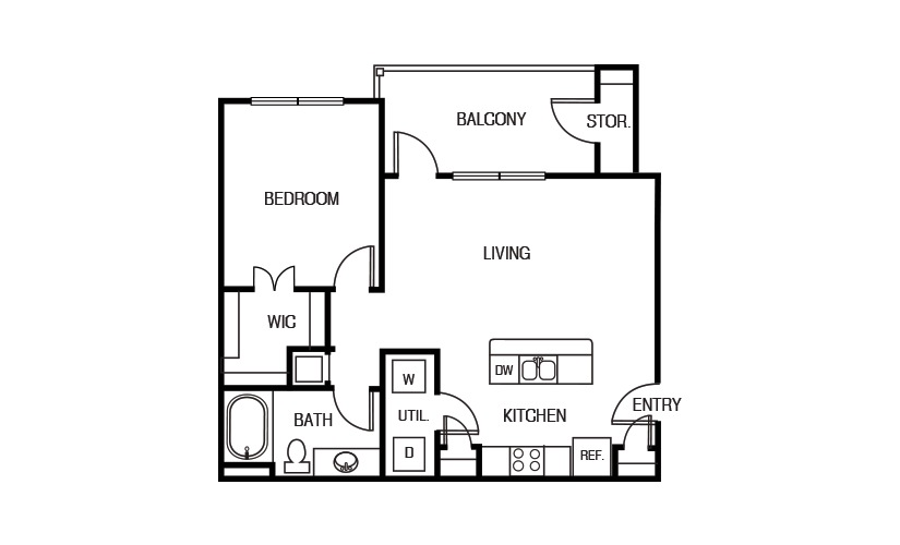 735 sq. ft. A2P floor plan