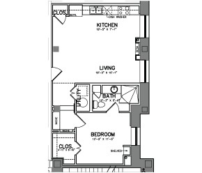 716 sq. ft. Unit 5 floor plan