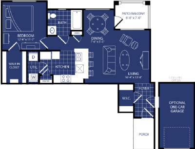 762 sq. ft. Hadron floor plan