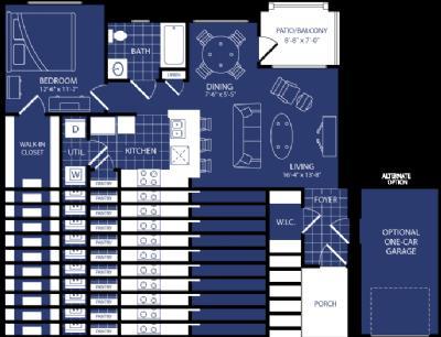 762 sq. ft. Hadron floor plan
