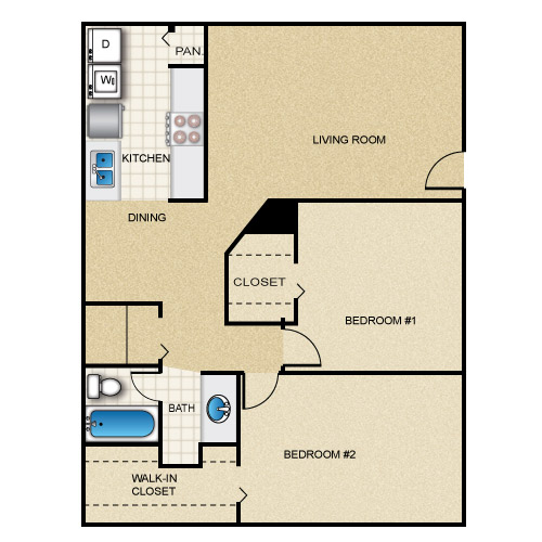 955 sq. ft. floor plan