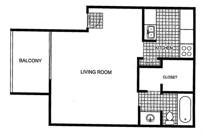 439 sq. ft. floor plan