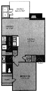 748 sq. ft. Mkt floor plan